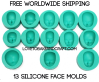 Face molds, silicone face moulds, polymer face, ooak, ooak fairy, ooak face, fimo face, sculpey face molds. Free shipping